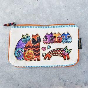 [Laurel Burch] Feline Clan Cat Zip Pouch/Bag